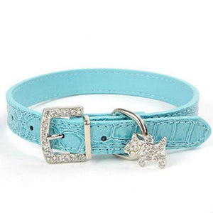Crystal Pendant Dog Collar - Blue / L