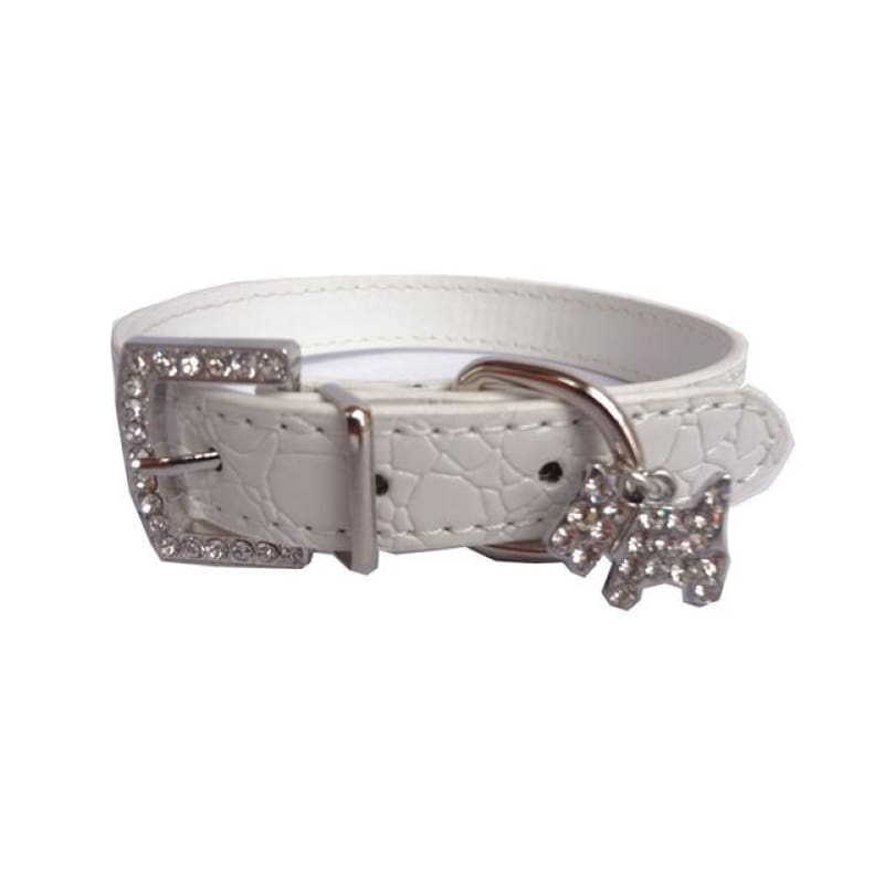 Crystal Pendant Dog Collar - White / L