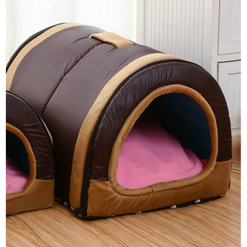 Dog House Nest With Foldable Mat - brown / Small