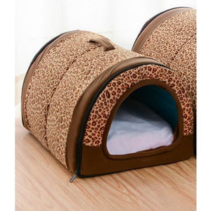 Dog House Nest With Foldable Mat - Leopard grain / Small