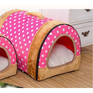 Dog House Nest With Foldable Mat - Pink dots / Small