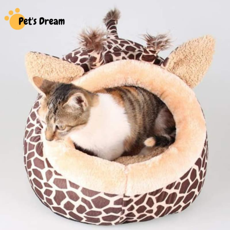 Giraffe Pattern Cozy Pet House - Houses Kennels & Pens