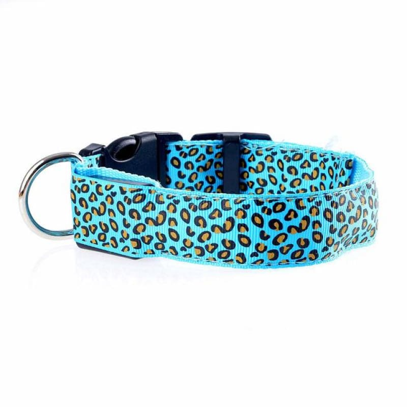 Leopard LED Pet Dog Collar - Blue / S