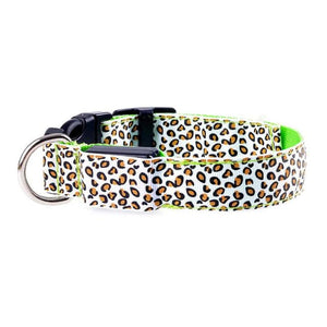 Leopard LED Pet Dog Collar - Green / S
