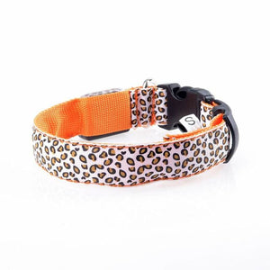 Leopard LED Pet Dog Collar - Orange / S