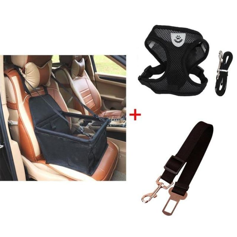 Luxury Pets Safety Car Seat Carrier + Premium Harness & Leash set + Car Safety Belt - Black Bundle / M
