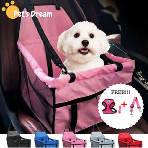 Luxury Pets Safety Car Seat Carrier + Premium Harness & Leash set + Car Safety Belt - Black Bundle / S