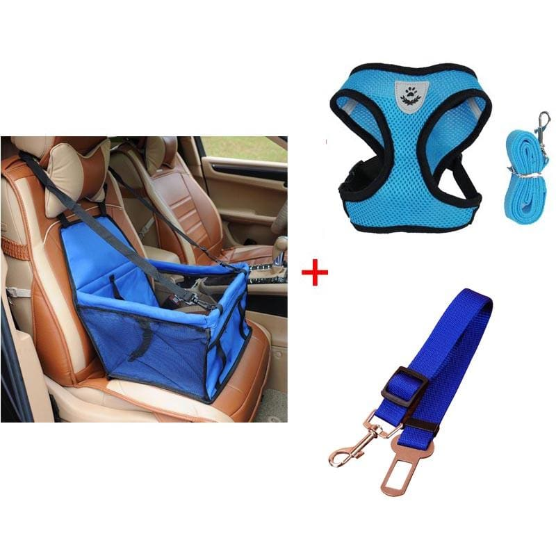 Luxury Pets Safety Car Seat Carrier + Premium Harness & Leash set + Car Safety Belt - Blue Bundle / L