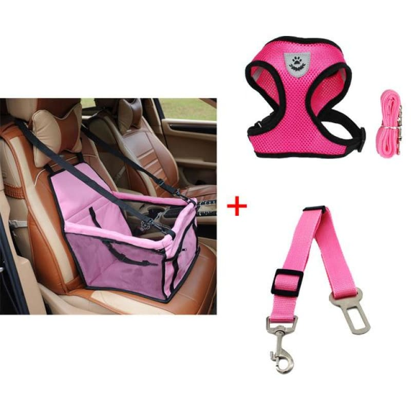 Luxury Pets Safety Car Seat Carrier + Premium Harness & Leash set + Car Safety Belt - Pink Bundle / S