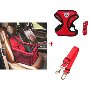 Luxury Pets Safety Car Seat Carrier + Premium Harness & Leash set + Car Safety Belt - Red Bundle / S