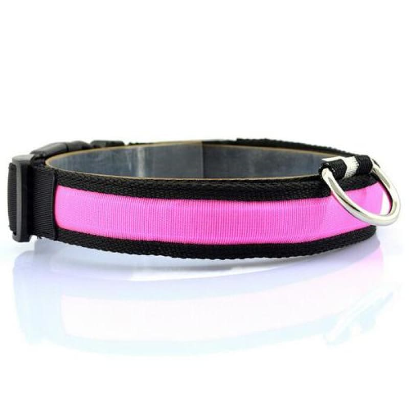Nylon LED Pet Dog Collar - Pink / S