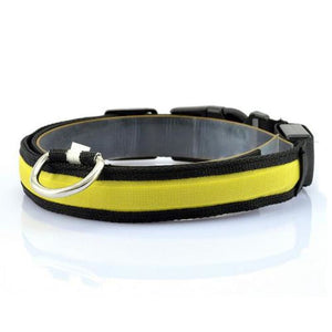 Nylon LED Pet Dog Collar - Yellow / S