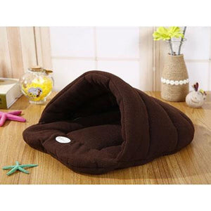 Pet Cozy Cave Sleeping Bag - Dark Brown / S 33x30cm - Houses Kennels & Pens