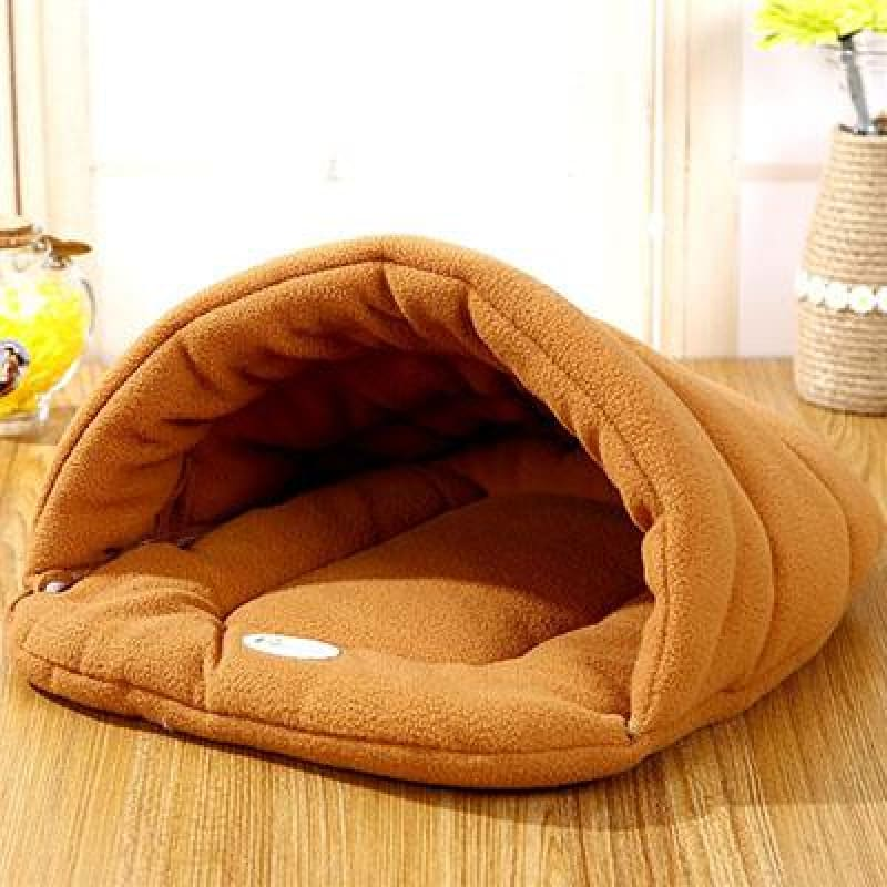 Pet Cozy Cave Sleeping Bag - Light Brown / S 33x30cm - Houses Kennels & Pens