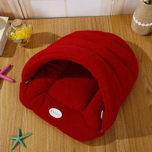 Pet Cozy Cave Sleeping Bag - Maroon / S 33x30cm - Houses Kennels & Pens