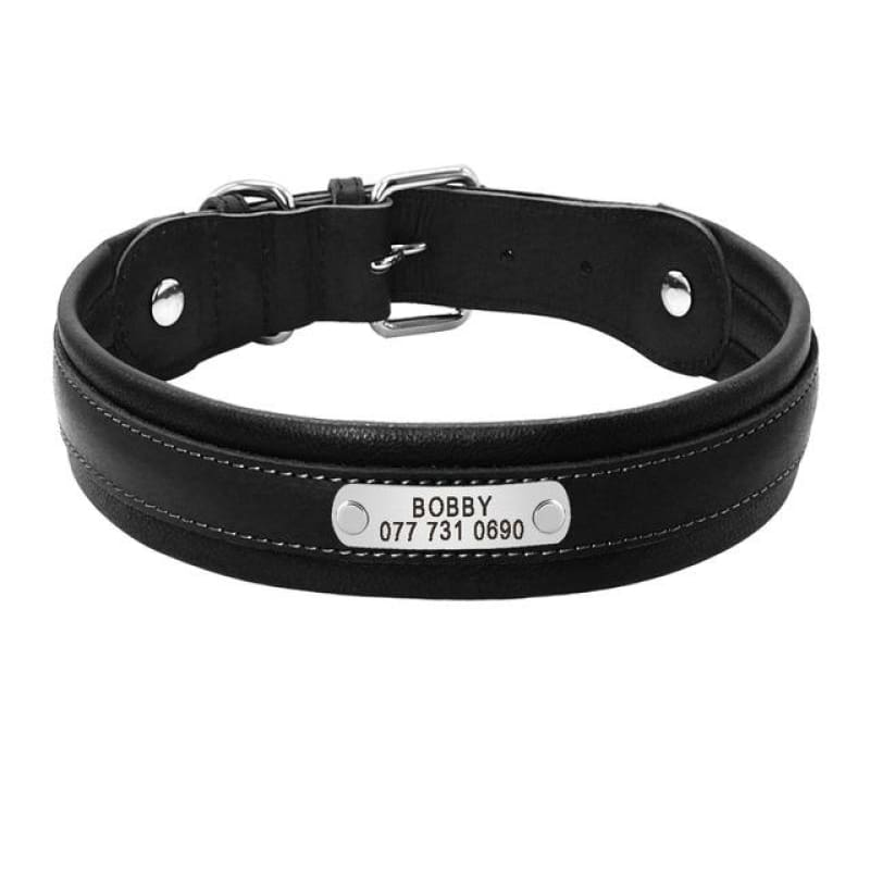 Premium Personalized Custom Engrave ID Tag Leather Dog Collar - Black / L - Collars