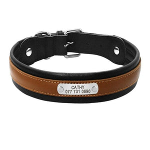 Premium Personalized Custom Engrave ID Tag Leather Dog Collar - Brown / L - Collars