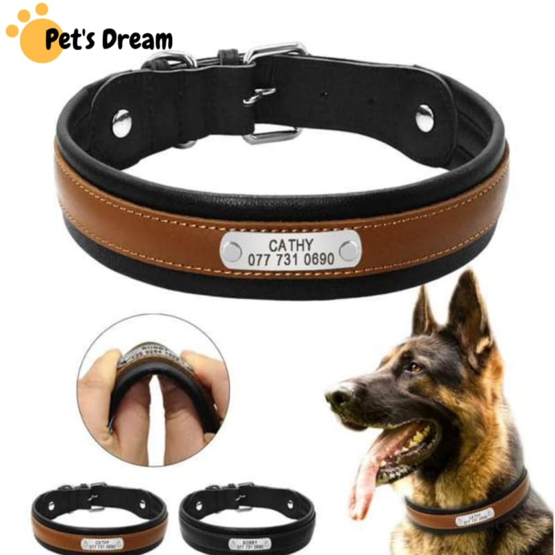 Premium Personalized Custom Engrave Id Tag Leather Dog Collar - Collars