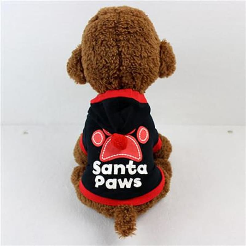 Santa Paws Hoodie for Small Puppu - Black / L / China