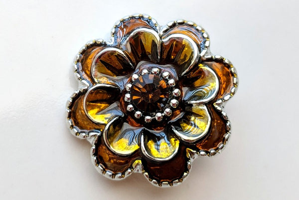 Amber Flower Ginger Snap Compatible Charm 18mm