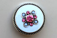 Pink and White Diamond Snap Charm 18mm