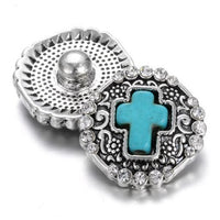Blue Silver Cross Snap Charm 18mm