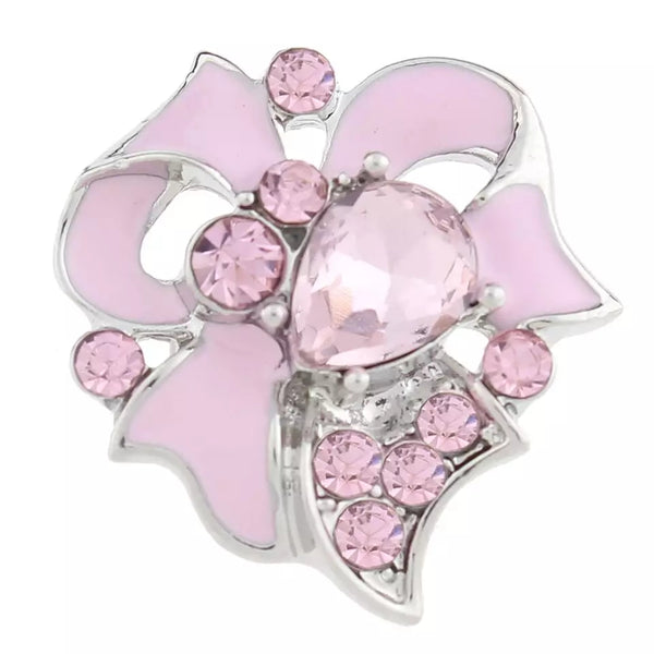 Pink Ribbon Breast Cancer Snap Charm 18mm