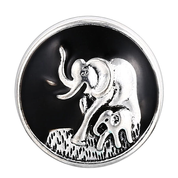 Elephant Mom and Baby Ginger Snap Button Compatible Charm 18mm