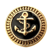 Black Anchor Ginger Snap Button Compatible Charm 18mm