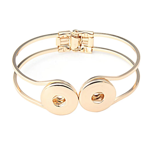 Double Snap Gold Bangle 18mm