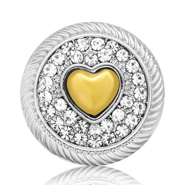 Gold and Silver Heart Snap Charm 18mm
