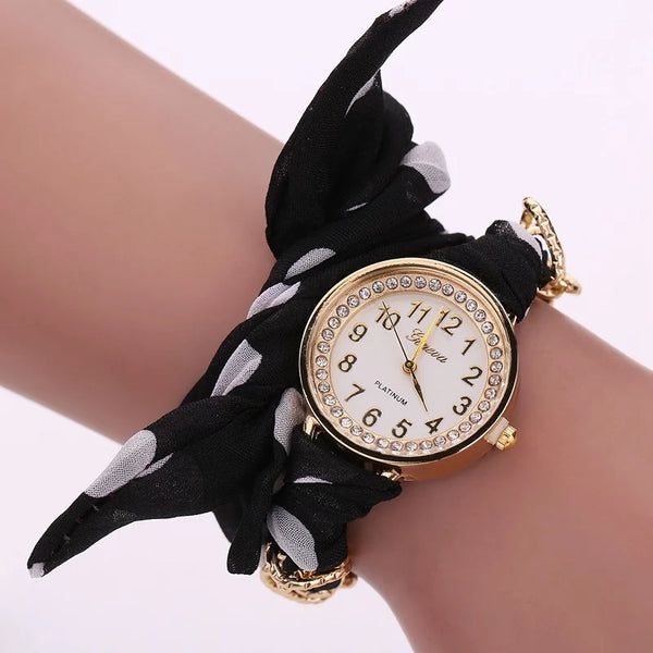 Charming Black Polka Dot Watch with Fabric Band