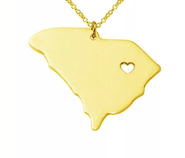 South Carolina State Necklace Gold/Silver