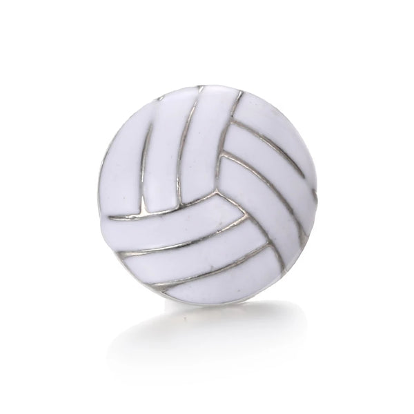 White Volleyball Snap Charm 18mm