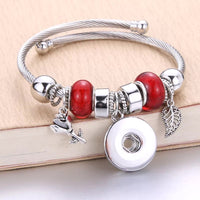 Red Bead Snap Silver Bracelet 18mm