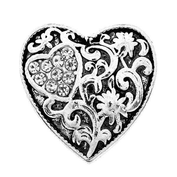Silver Heart Snap Charm 18mm