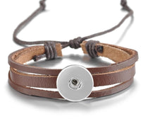 Brown Leather Simple Snap Bracelet 18mm