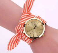 Burnt Orange Striped Watch with Fabric Band