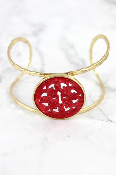 Red Resin Medallion Gold Bracelet