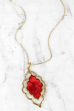 Morroccan Red Resin Gold Sweater Necklace