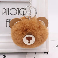 Brown Bear Pom Pom Fur Keychain Purse Charm tassel