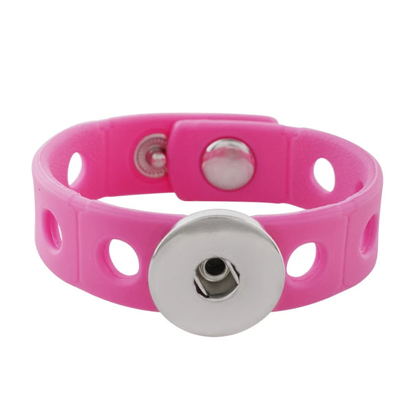 Kids Pink Silicone Snap Bracelet 18mm