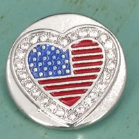Patriotic American Flag Heart Ginger Snap Compatible Snap Charm 18mm