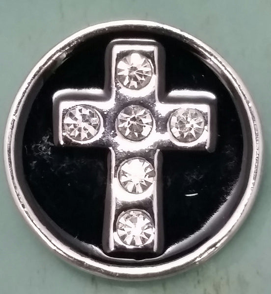 Black Cross Snap Charm 18mm