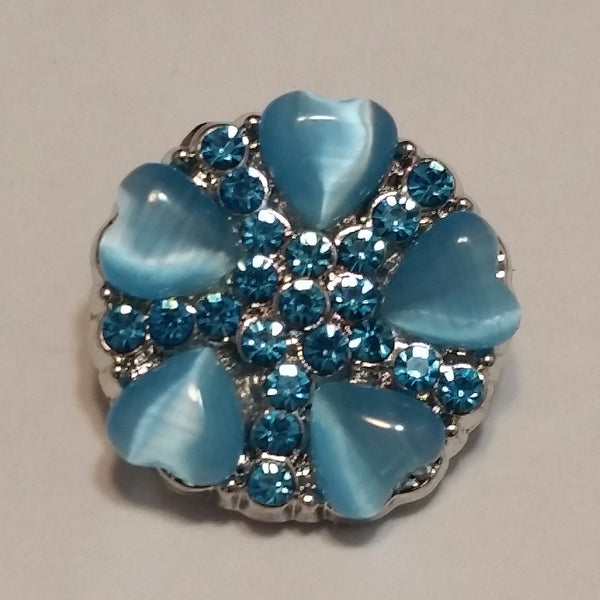 Ocean Blue Heart Snap Charm 18mm