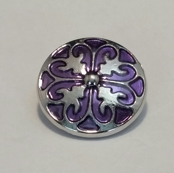Purple Silver Snap Charm 18mm