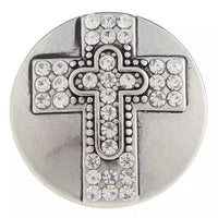 Rhinestone Cross Ginger Snap Button Compatible Charm 18mm