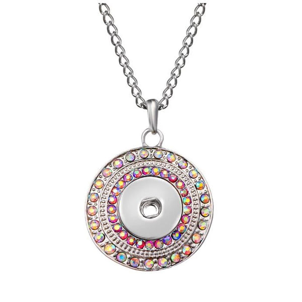 Rhinestone Round Necklace with 18 inch nickel free chain 18mm