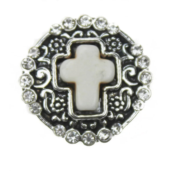 White Silver Cross Snap Charm 18mm