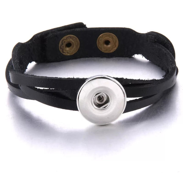 Twisty Black Leather Snap Bracelet 18mm